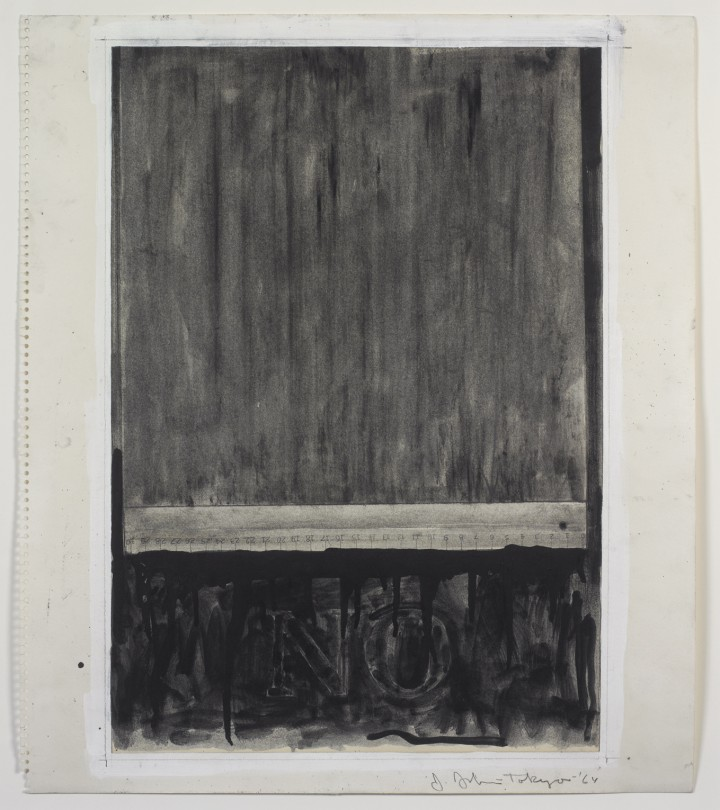 Jasper Johns, No, 1964, graphite, charcoal, gouache and liquid graphite on paper, 20 ¼ x 17 ½ inches (51.4 x 44.5 cm). The Museum of Modern Art, New York. Gift of Sally and Wynn Kramarsky, 2004. Art © Jasper Johns/Licensed by VAGA, New York, NY / Photo: Ellen McDermott