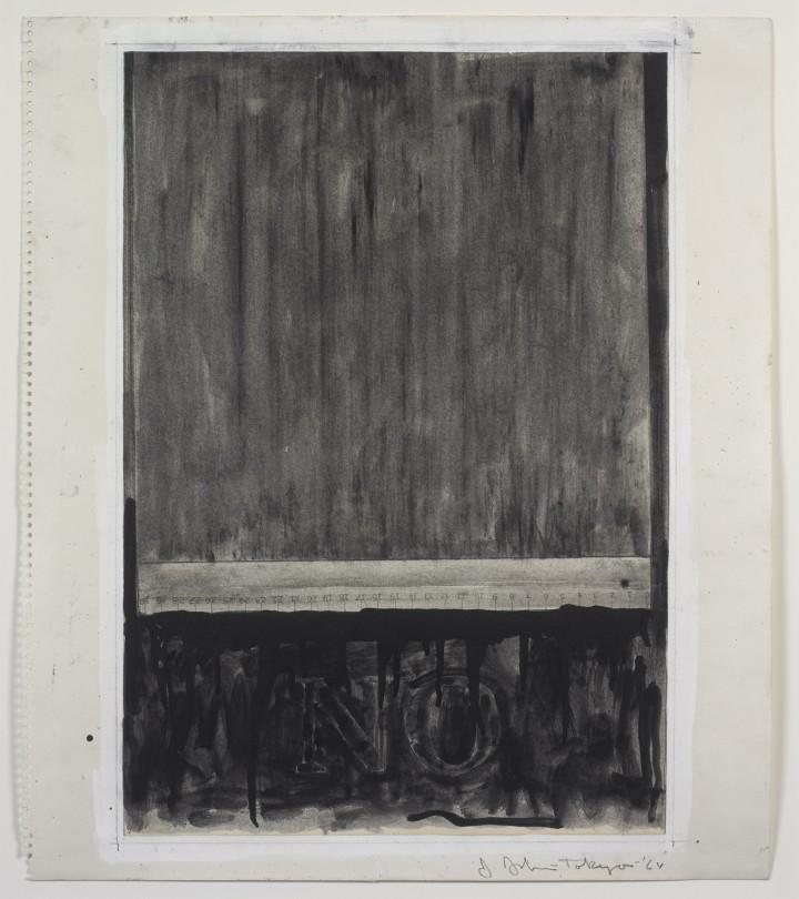 Jasper Johns, No, 1964, graphite, charcoal, gouache and liquid graphite on paper, 20 ¼ x 17 ½ inches (51.4 x 44.5 cm). The Museum of Modern Art, New York. Gift of Sally and Wynn Kramarsky, 2004. Art © Jasper Johns/Licensed by VAGA, New York, NY / Photo: Ellen McDermott