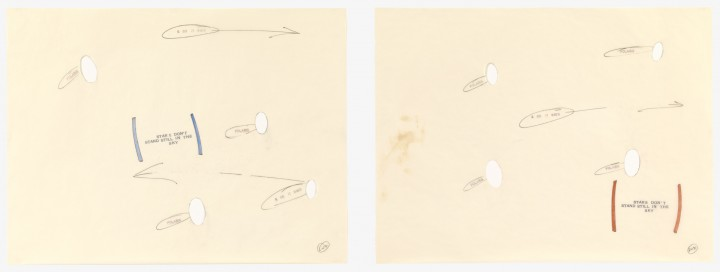 Lawrence Weiner, Polaris, 1990, a) felt-tip pen, pencil, and stamped ink on cut transparentized paper; b) felt-tip pen, pencil, colored pencil, and stamped ink on cut transparentized paper, 2 sheets, each 19 x 23 7/8 inches (48.3 x 60.6 cm). The Museum of Modern Art, New York. Gift of Sally and Wynn Kramarsky, 2001. © 2013 Lawrence Weiner / Artists Rights Society (ARS), New York / Photo: Thomas Griesel
