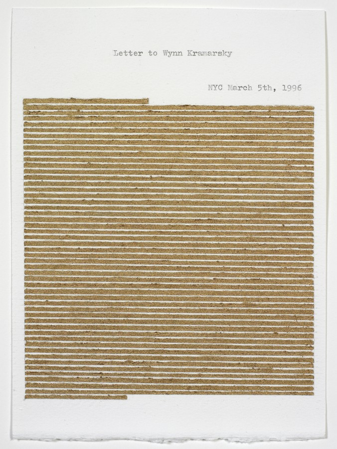 Elena del Rivero, Letter to Wynn Kramarsky, 1996, metallic gouache, graphite and typewriting on paper, 9 x 6 ½ inches (22.9 x 16.5 cm). © 2013 Artists Rights Society (ARS), New York / VEGAP, Madrid / Photo: Ellen McDermott