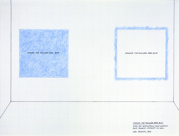 Mel Bochner, Imagine the Enclosed Area Blue (Study for Installation, Yale, Norfolk), 1968, carpenter's chalk and ink on graph paper, 16 x 22 inches (40.6 x 55.9 cm). The Museum of Modern Art, New York. Gift of Sally and Wynn Kramarsky, 2004. © Mel Bochner / Photo: John Wronn