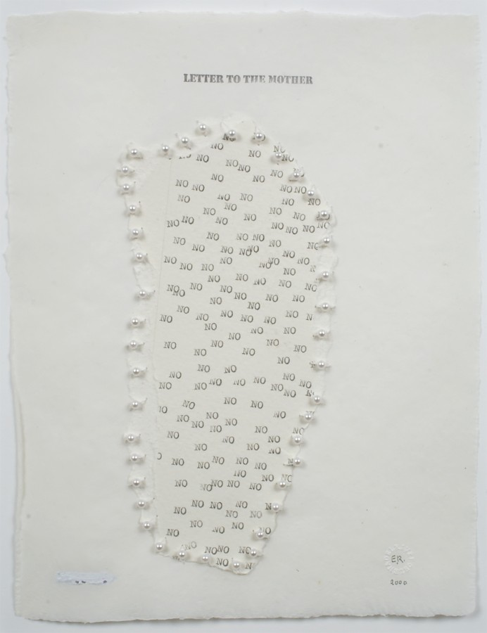 Elena del Rivero, Letter to the Mother, 2000, mixed media on paper, 10 3/8 x 8 ¼ inches (26.4 x 21 cm). © 2013 Artists Rights Society (ARS), New York / VEGAP, Madrid / Photo: Laura Mitchell
