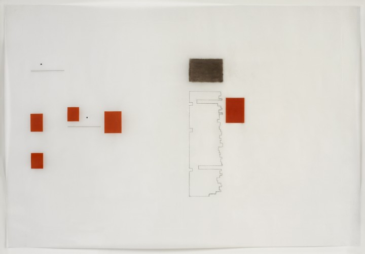 Karen Schiff, Agnes Martin, College Art Association News, March 2005, opening, I, 2005, graphite, conté crayon, etching stylus, ink, Rubylith and Letraset tape on vellum, 13 x 19 ¼ inches (33 x 48.9 cm). © Karen Schiff / Photo: Ellen McDermott