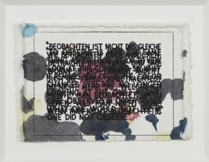 Mel Bochner, If the Color Changes…, 2003, monoprint with engraving and embossment on Twinrocker handmade paper, 2 ½ x 3 ½ inches (6.4 x 8.9 cm). Published by Two Palms, New York. Joel and Lila Harnett Print Study Center, University of Richmond Museums, Richmond, Virginia. Gift of Sally and Wynn Kramarsky, H2013.03.05. © Mel Bochner / Photo: Laura Mitchell