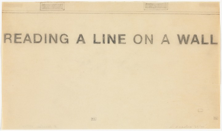 William Anastasi, Untitled (READING A LINE ON A WALL), 1967/1977, graphite on paper, 6 3/8 x 10 3/4 inches (16.2 x 27.3 cm). The Museum of Modern Art, New York. Gift of Sally and Wynn Kramarsky in honor of Maja Oeri, 2011. © William Anastasi / Photo: John Wronn