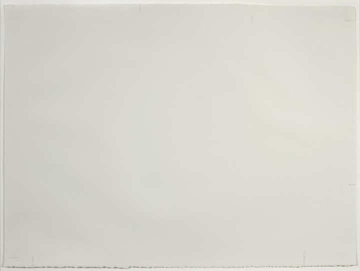 Robert Barry, Untitled (ELIMINATE, FORGOTTEN), 1978, ink on paper, 22 ½ x 30 inches (57.2 x 76.2 cm). © Robert Barry / Photo: Ellen McDermott