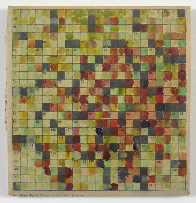 Stephen Dean, Untitled (Crossword), 1994, watercolor on newsprint, 4 x 4 ½ inches (10.2 x 11.4 cm). © Stephen Dean / Photo: Ellen McDermott