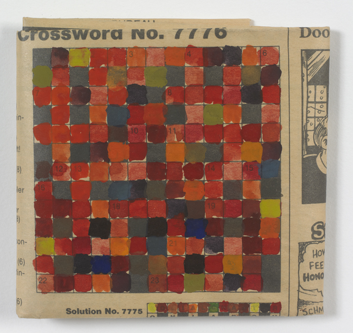 Stephen Dean, Untitled (Crossword), 1996, watercolor on newsprint, 3 ½ x 4 inches (8.9 x 10.2 cm). © Stephen Dean / Photo: Ellen McDermott