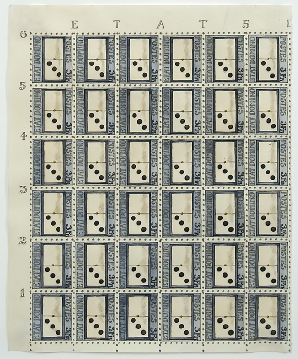 Donald Evans, Etat Domino Stamp Sheet, 1973, watercolor on paper, 6 ¾ x 5 ½ inches (17.2 x 14 cm). © Estate of Donald Evans and Tibor de Nagy Gallery, New York / Photo: Laura Mitchell