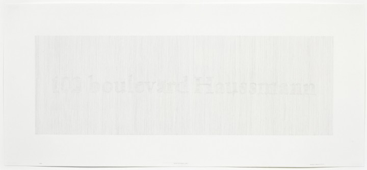 Susanna Harwood Rubin, 102 boulevard Haussmann, 2000, graphite on paper, 14 x 31 inches (35.6 x 78.7 cm). © Susanna Harwood Rubin / Photo: Ellen McDermott