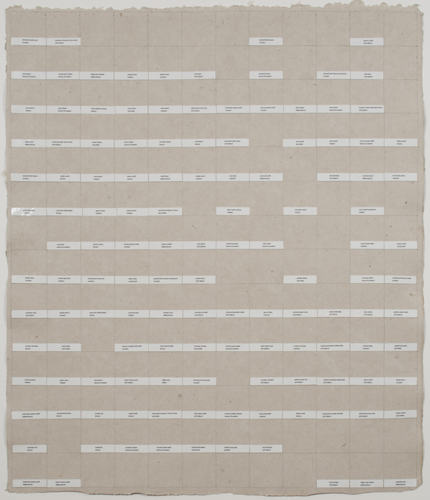 Nancy Haynes, memory drawing (John Cage + Merce Cunningham) from the autobiographical color chart series, 2010, printed labels and graphite on linen paper, 28 ½ x 24 ¼ inches (72.4 x 61.6 cm). © Nancy Haynes / Photo: Laura Mitchell