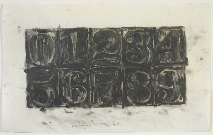 Jasper Johns, 0-9, 1960, graphite wash and graphite on paper, 8 x 13 inches (20.3 x 33 cm). Art © Jasper Johns/Licensed by VAGA, New York, NY / Photo: Jamie Stukenberg | Professional Graphics, Inc.