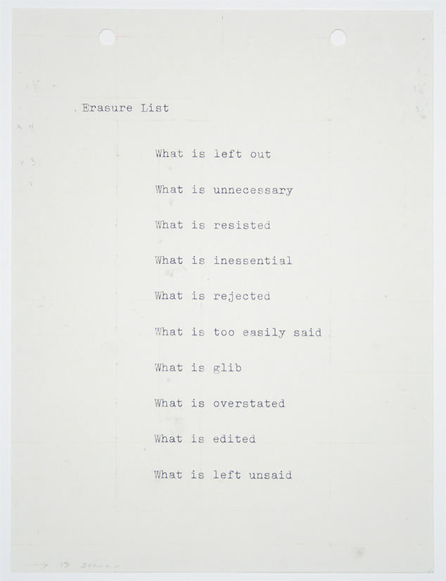 Bronlyn Jones, Erasure List, 2009, typewriting, graphite and colored pencil on paper, 7 ¾ x 6 inches (19.7 x 15.2 cm). © Bronlyn Jones / Photo: Laura Mitchell