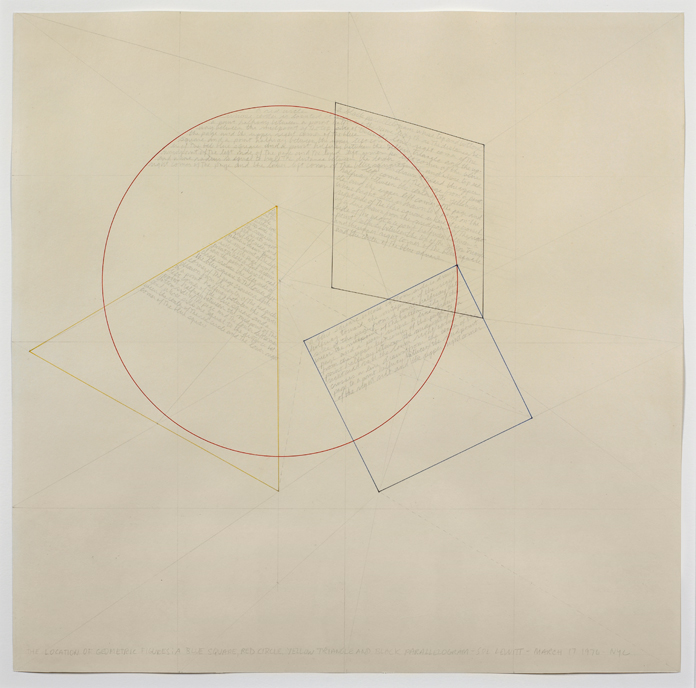 Sol LeWitt, <em>The Location of Geometric Figures: A Blue Square, Red Circle, Yellow Triangle, and Black Parallelogram</em>, 1976
