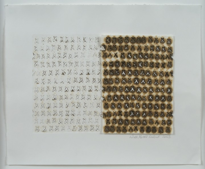 Deborah Gottheil Nehmad, Untitled, 2003, pyrography and collagraph on paper, 9 ¾ x 11 7/8 inches (24.8 x 30.2 cm). © Deborah Gottheil Nehmad / Photo: Laura Mitchell