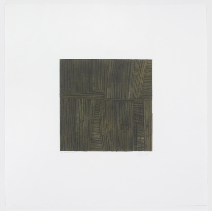 Gloria Ortiz-Hernández, Over and Over #5, 2010, tape, charcoal, graphite and colored pencil on Fabriano paper, 22 x 22 inches (55.9 x 55.9 cm). © Gloria Ortiz-Hernández / Photo: Ellen McDermott