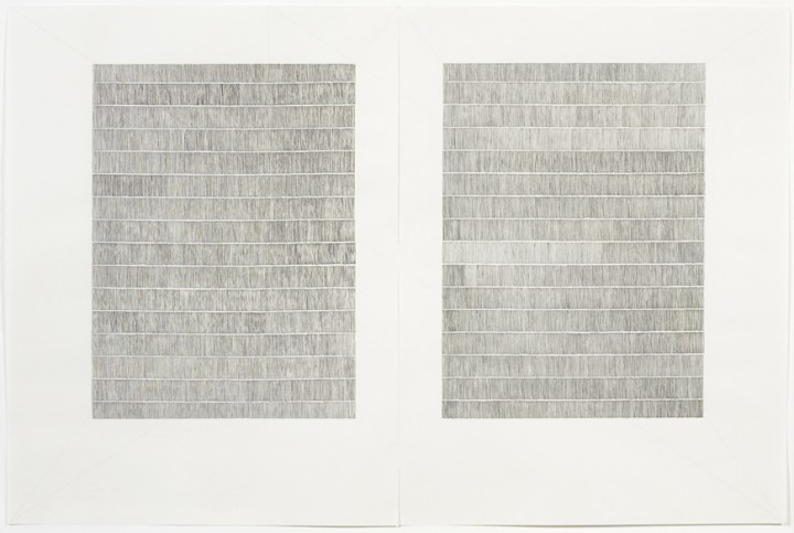 Karen Schiff, Untitled (Manuscript), 2007, sumi ink, graphite and colored pencil on paper, diptych: 25 x 37 inches (63.5 x 94 cm). © Karen Schiff / Photo: Ellen McDermott