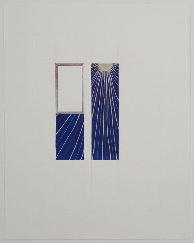 Karen Schiff, fol. 70, Psalm 101 (David Beseeches God), 2010, colored pencil, gouache and inks on watercolor paper, 9 3/8 x 6 ¾ inches (23.8 x 17.1 cm). © Karen Schiff / Photo: Ellen McDermott