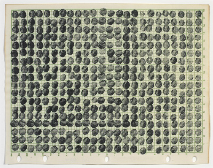 Joel Shapiro, Untitled, 1969, ink on numbered graph paper, 7 13/16 x 9 15/16 inches (19.8 x 25.2 cm). © 2013 Joel Shapiro / Artists Rights Society (ARS), New York / Photo: Ellen McDermott