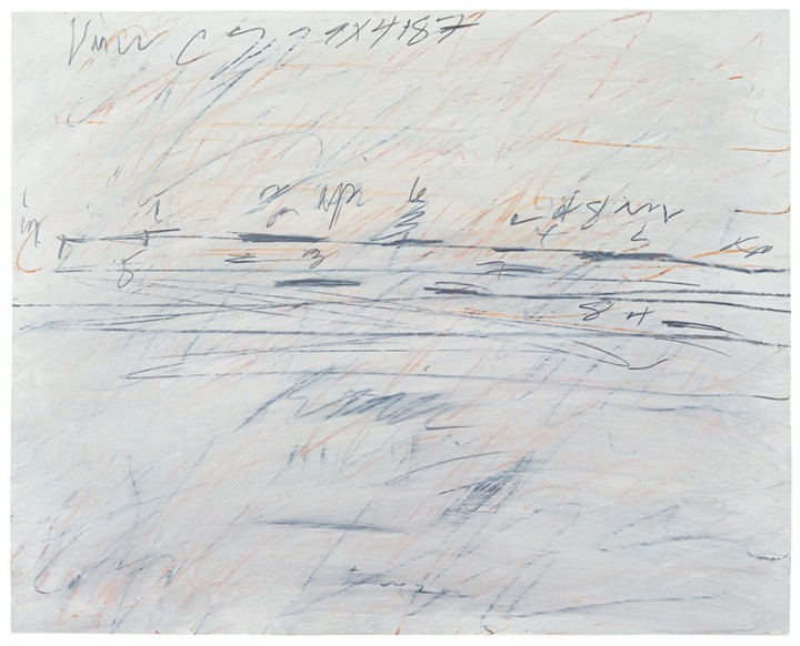 Cy Twombly, Untitled, 1971, gouache, graphite, crayon and oil on paper, 27 x 34 inches (68.6 x 86.4 cm). © Cy Twombly Foundation / Photo: Johansen Krause