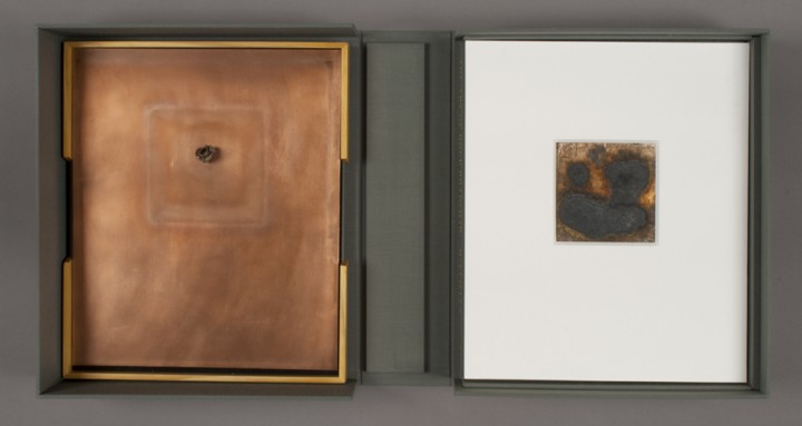 Left: Spent Bullet and right: Contingency Pour from Dove Bradshaw, The Art of Dove Bradshaw: Nature, Change, and Indeterminacy, 2003, artist's book: mixed media, 13 ¾ x 11 7/8 x 3 ½ inches (34.9 x 30.2 x 8.9 cm), closed. Published by Mark Batty Publisher, New York. © Dove Bradshaw / Photo: Laura Mitchell