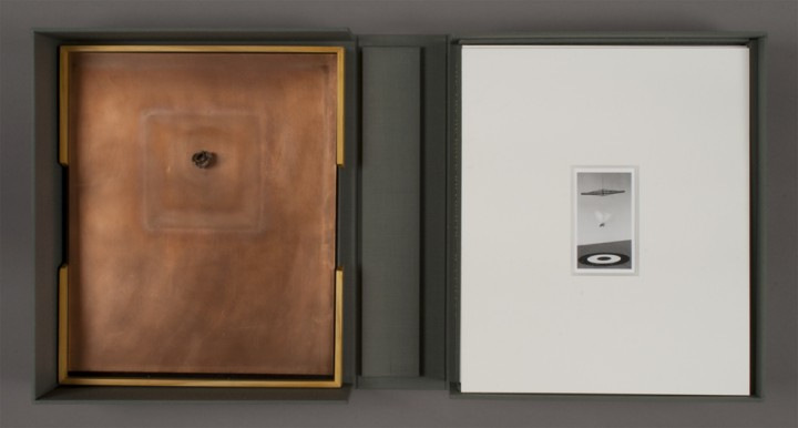 Left: Spent Bullet and right: Plain Air from Dove Bradshaw, The Art of Dove Bradshaw: Nature, Change, and Indeterminacy, 2003, artist's book: mixed media, 13 ¾ x 11 7/8 x 3 ½ inches (34.9 x 30.2 x 8.9 cm), closed. Published by Mark Batty Publisher, New York. © Dove Bradshaw / Photo: Laura Mitchell
