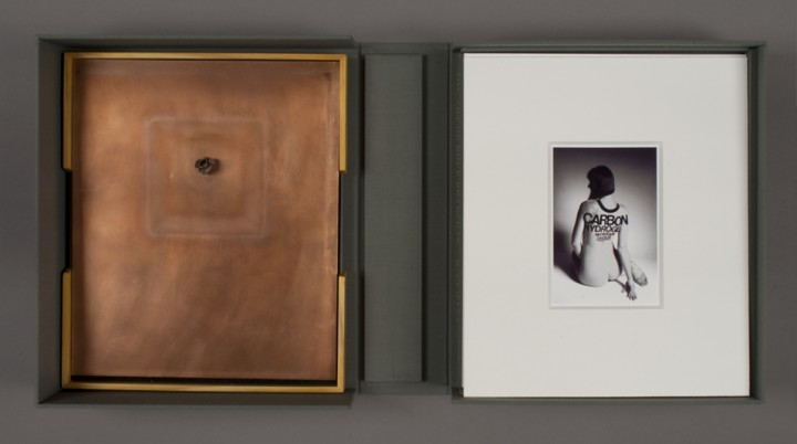 Left: Spent Bullet and right: Oxygen from Dove Bradshaw, The Art of Dove Bradshaw: Nature, Change, and Indeterminacy, 2003, artist's book: mixed media, 13 ¾ x 11 7/8 x 3 ½ inches (34.9 x 30.2 x 8.9 cm), closed. Published by Mark Batty Publisher, New York. © Dove Bradshaw / Photo: Laura Mitchell