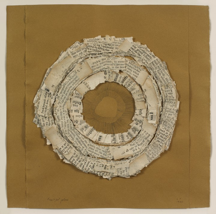 Lenore Tawney, Fruitful Place, 1966, ink and collage on paper, 11 ½ x 9 ¼ inches (29.2 x 23.5 cm). © Lenore G. Tawney Foundation / Photo: Ellen McDermott