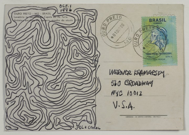 Sol LeWitt, Postcard, 1996, felt-tip marker on postcard, 4 x 6 inches (10.2 x 15.2 cm). © 2013 The LeWitt Estate / Artists Rights Society (ARS), New York / Photo: Ellen McDermott