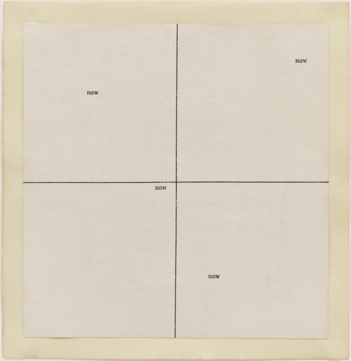 Carl Andre, now now, 1967, typewriting and ink on paper, 8 ¼ x 8 inches (21 x 20.3 cm). The Museum of Modern Art, New York. Gift of Sally and Wynn Kramarsky, 1980. Art © Carl Andre/Licensed by VAGA, New York, NY / Photo: John Wronn