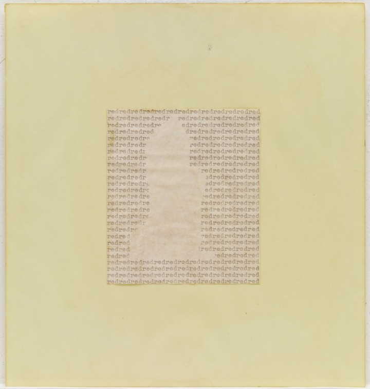 Carl Andre, red red, 1967, typewriting on paper mounted on colored paper, 9 7/8 x 9 ¼ inches (25.1 x 23.5 cm). The Museum of Modern Art, New York. Gift of Sally and Wynn Kramarsky. Art © Carl Andre/Licensed by VAGA, New York, NY / Photo: John Wronn