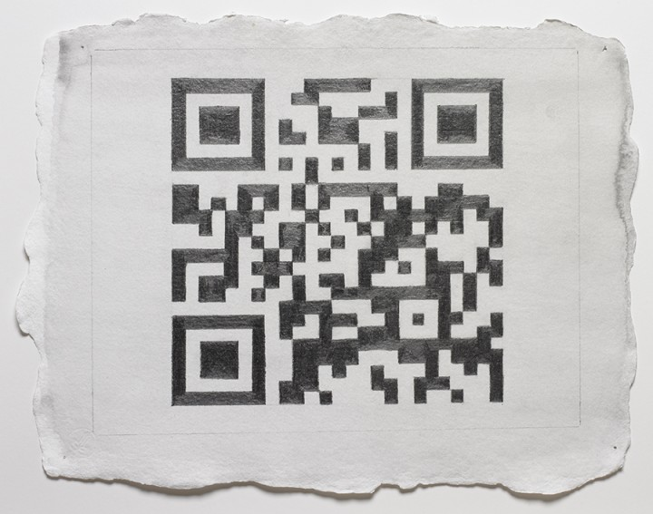 Nancy Haynes, QR for WK by NH, 2012, graphite and watercolor on linen paper, 10 x 12 ½ inches (25.4 x 31.8 cm). © Nancy Haynes / Photo: Ellen McDermott