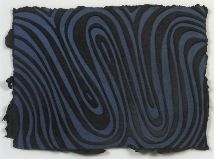 Sol LeWitt, W, 1995, relief print on hand dyed, handmade Twinrocker paper, 9 x 12 ½ inches (22.9 x 31.8 cm). Special edition published by Two Palms, New York. © 2013 The LeWitt Estate / Artists Rights Society (ARS), New York / Photo: Ellen McDermott