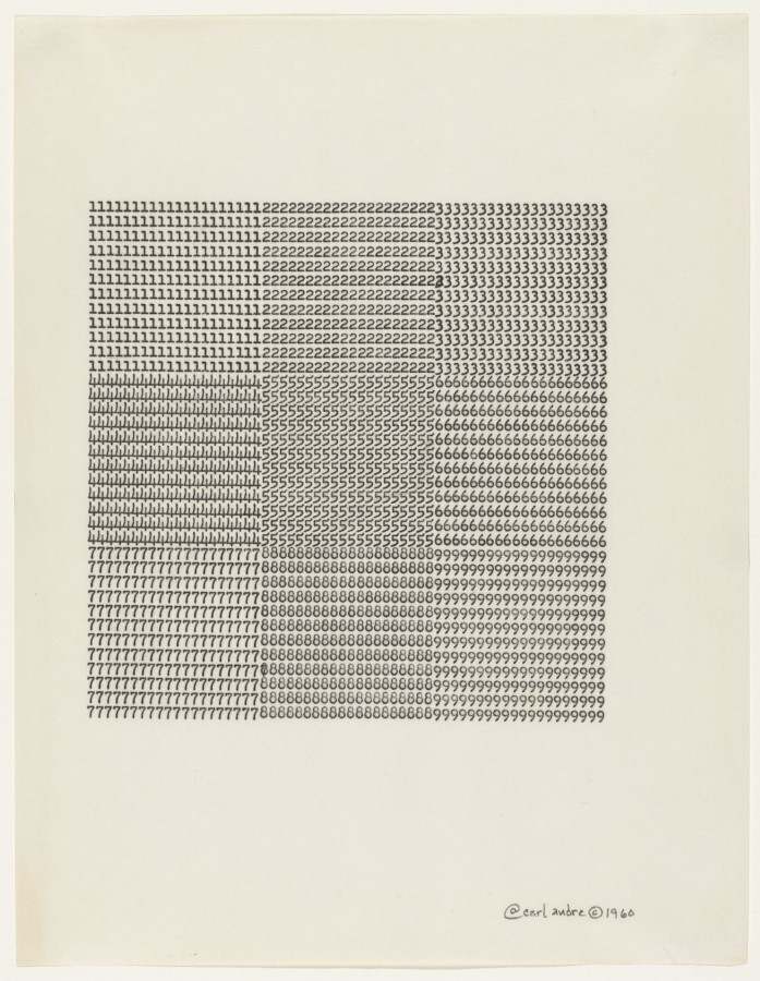 Carl Andre, Untitled, 1960, typewriting on paper, 11 x 8 ½ inches (27.9 x 21.6 cm). The Museum of Modern Art, New York. Gift of Sally and Wynn Kramarsky. Art © Carl Andre/Licensed by VAGA, New York, NY / Photo: John Wronn