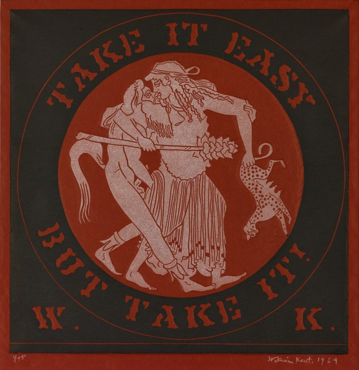 William Kent, Take It Easy But Take It!, 1964, carved slate print on rice paper, 12 x 12 inches (30.5 x 30.5 cm). © William Kent Charitable Foundation / Photo: Andy Romer Photography