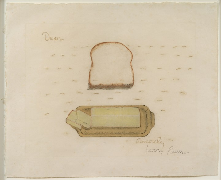 Larry Rivers, Bread and Butter, 1974, color lithograph on paper, 14 ¼ x 17 ⅜ inches (36.2 x 44.1 cm). Collection of Laura Kramarsky & Mike Curtis. Art © Estate of Larry Rivers/Licensed by VAGA, New York, NY / Photo: Peter Muscato