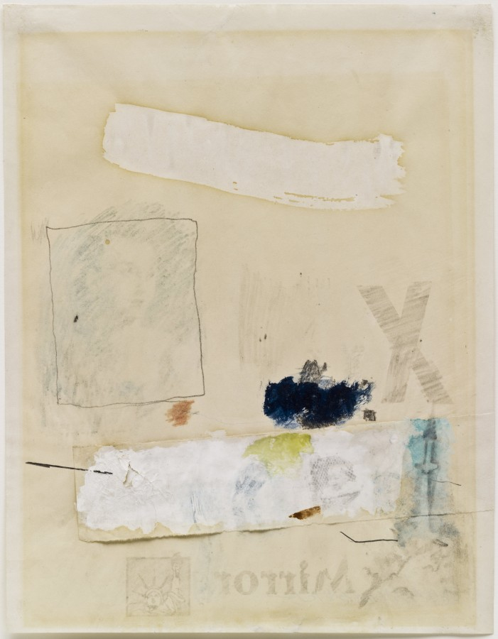 Robert Rauschenberg, Untitled (Mirror), 1952, transfer drawing, oil, watercolor, crayon, pencil and cut-and-pasted paper on paper, 10 ½ x 8 ½ inches (26.7 x 21.6 cm). The Museum of Modern Art, New York. Gift of Sally and Wynn Kramarsky, 2004. Art © Robert Rauschenberg Foundation/Licensed by VAGA, New York, NY / Photo: The Museum of Modern Art