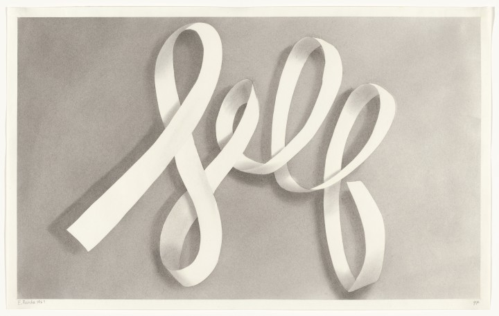 Ed Ruscha, Self, 1967, pastel and gunpowder on paper, 14 ½ x 22 ½ inches (36.8 x 57.2 cm). The Museum of Modern Art, New York. Gift of Sally and Wynn Kramarsky, 2004. © Ed Ruscha. Courtesy Gagosian Gallery / Photo: Ellen McDermott