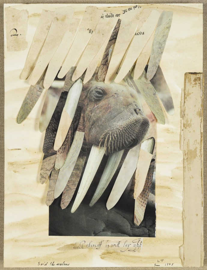 Lenore Tawney, Said the Walrus to the Carpenter, It Would Be Very Nice, 1985, collage and wash on paper, 12 x 8 ¾ inches (30.5 x 22.2 cm). Brooklyn Museum, 87.205.7. © Lenore G. Tawney Foundation / Photo: Brooklyn Museum