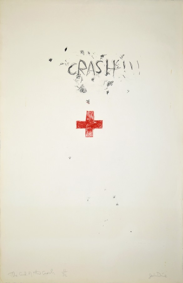 Jim Dine, The End of the Crash, 1960, lithograph on paper, 40 x 26 inches (101.6 x 66 cm). University at Buffalo Art Galleries: Gift of the David K. Anderson Family, 2003. © 2014 Artists Rights Society (ARS), New York / Photo: UB Art Galleries