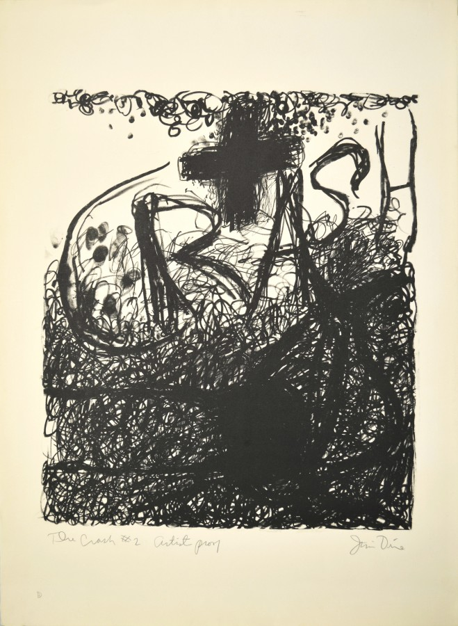 Jim Dine, The Crash #2, 1960, lithograph on paper, 29 ⅞ x 22 inches (75.9 x 55.9 cm). University at Buffalo Art Galleries: Gift of the David K. Anderson Family, 2003. © 2014 Artists Rights Society (ARS), New York / Photo: UB Art Galleries