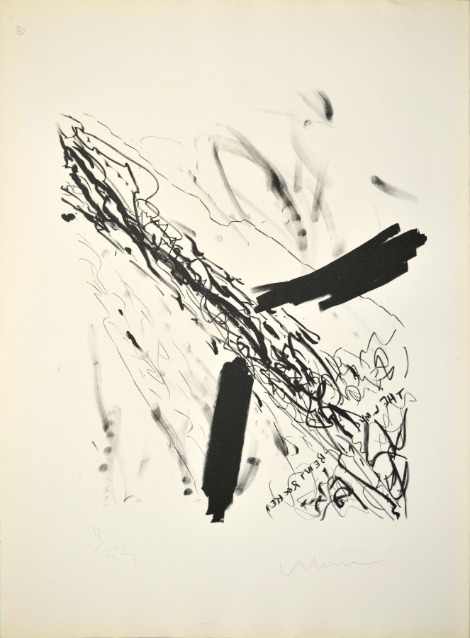 Robert Whitman, Long Bent Rocket, 1960, lithograph on paper, 21 x 18 inches (53.3 x 45.7 cm). University at Buffalo Art Galleries: Promised Gift of David K. Anderson. © Robert Whitman, courtesy Pace Gallery / Photo: UB Art Galleries