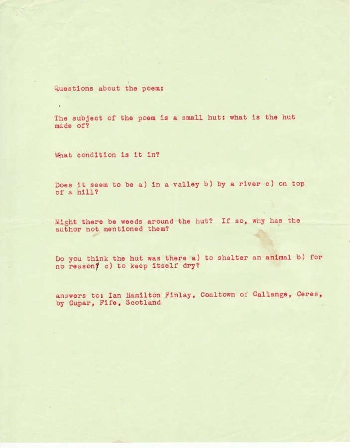 Ian Hamilton Finlay, stones stones stones Questions, 1966, typewriting on paper, 10 x 8 inches (25.4 x 20.3 cm). The Poetry Collection of the University Libraries, University at Buffalo, The State University of New York. © by courtesy of the Estate of Ian Hamilton Finlay / Photo: The Poetry Collection of the University Libraries, University at Buffalo, The State University of New York