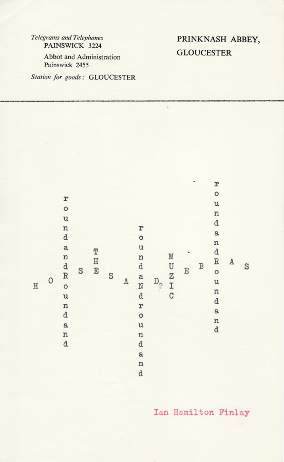 Ian Hamilton Finlay, roundandRoundand, n.d., typewriting on paper, 8 x 5 inches (20.3 x 12.7 cm). The Poetry Collection of the University Libraries, University at Buffalo, The State University of New York. © by courtesy of the Estate of Ian Hamilton Finlay / Photo: The Poetry Collection of the University Libraries, University at Buffalo, The State University of New York