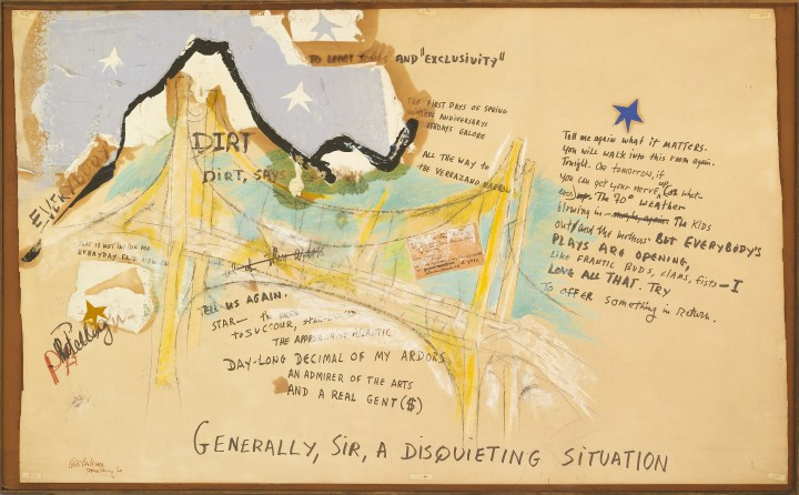 Michael Goldberg & Bill Berkson, Generally, Sir, A Disquieting Situation, 1964, mixed media on board, 38 x 61 inches (96.5 x 154.9 cm). The Poetry Collection of the University Libraries, University at Buffalo, The State University of New York, Gift of the David K. Anderson Family, 1995. © Bill Berkson / © Michael Goldberg Estate 2014; Courtesy of Michael Rosenfeld Gallery LLC, New York, NY. Photo: Biff Henrich / IMG_INK